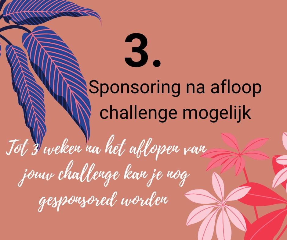 sponsoring na afloop van de challenge mogelijk