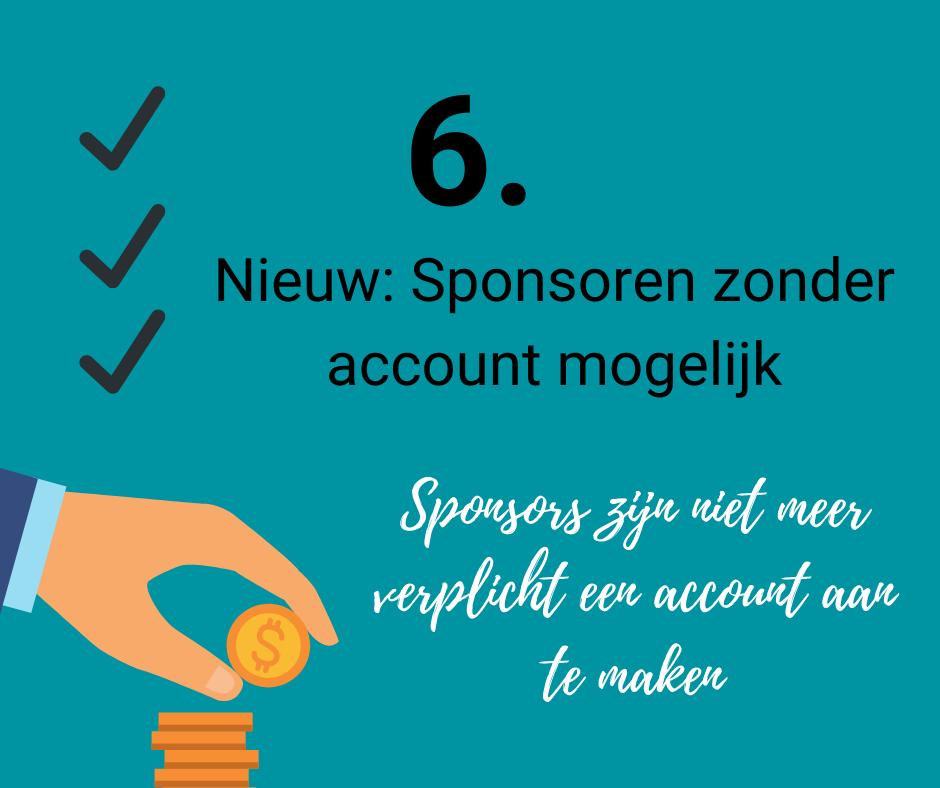 ook sponsoren zonder account is mogelijk