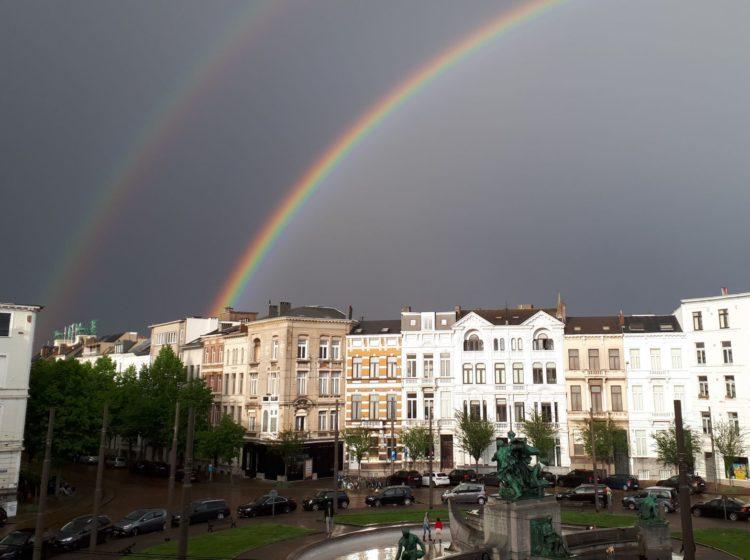 Dubbele regenboog boven Antwerpen